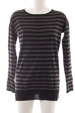 Marc O'Polo Maglione di lana nero-grigio motivo a righe stile casual