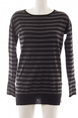 Marc O'Polo Wollpullover schwarz-grau Streifenmuster Casual-Look