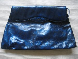 marc picard clutch tasche metalic blau neu