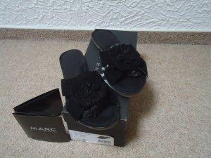 MARC schwarze Lederpantoletten 38