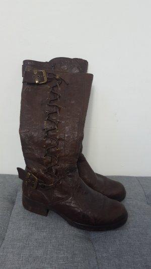 Buskins black brown leather