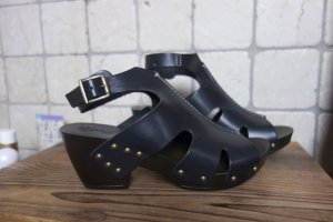 Marc Soft Walk Shoes, NEU!, schwarz, offene Sandalen mit Absatz in Holzoptik