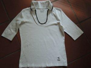 Marc Cain Polo Shirt white-black cotton