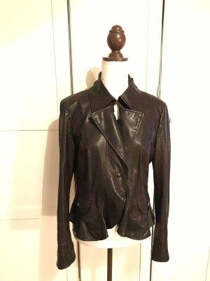 Marccain Echtlederjacke Lederjacke Marc Cain Größe N4 40 braun schwarz Echtleder Bikerjacke