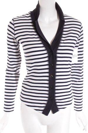 Marccain Sports Shirtjacke weiß-dunkelblau Streifenmuster Casual-Look