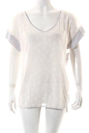 Marccain Sports V-Ausschnitt-Shirt weiß-grau Sternenmuster Casual-Look