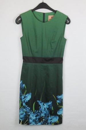 Marcel Ostertag Kleid Etuikleid Gr. S grün, schwarz mit Flower Print (18/4/126)