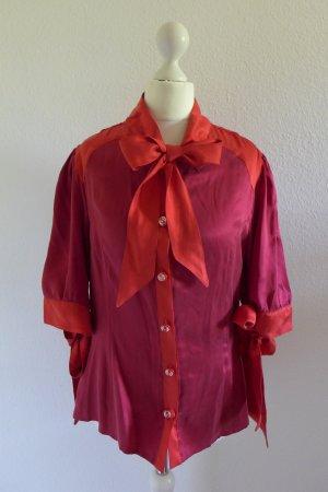 Marcel Ostertag Vintage Seide Bluse Schluppe rot dunkelrot Gr. 40 M
