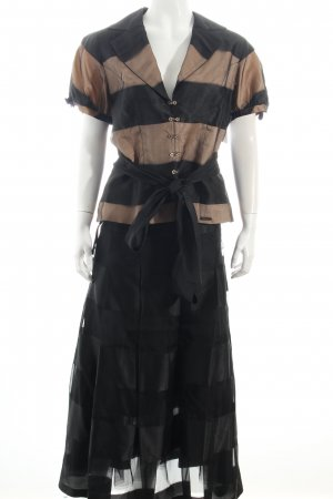 marcelino Traje para mujer negro-albaricoque estampado a rayas estilo clásico