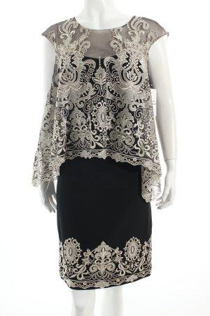 Marchesa Abendkleid schwarz-goldfarben florales Muster Eleganz-Look