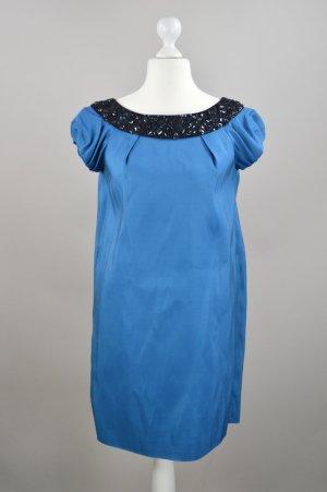 Marchesa Notte Abendkleid mit Strasssteinen blau Größe 36/38