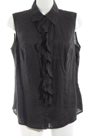 Marco Pecci ärmellose Bluse schwarz Casual-Look