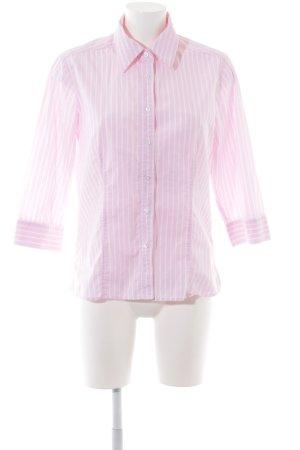 Marco Pecci Langarmhemd pink-weiß Streifenmuster klassischer Stil