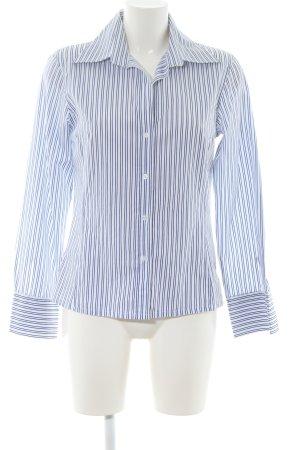 Marco Pecci Langarmhemd weiß-blau Streifenmuster Business-Look