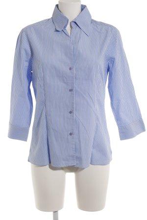 Marco Pecci Langarmhemd weiß-himmelblau Streifenmuster klassischer Stil