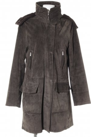 Marco Pecci Leather Coat dark brown casual look