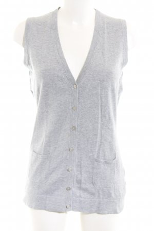 Marco Pecci Long Knitted Vest light grey flecked casual look