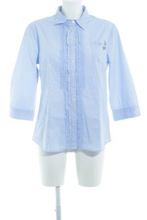 Marco Pecci Rüschen-Bluse blassblau-weiß Nadelstreifen Casual-Look