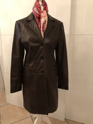 Cappotto in pelle marrone scuro