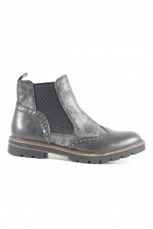 Marco Tozzi Chelsea Boots black-silver-colored abstract pattern biker look