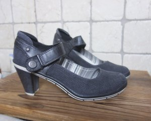 Marco Tozzi Backless Pumps anthracite-steel blue linen