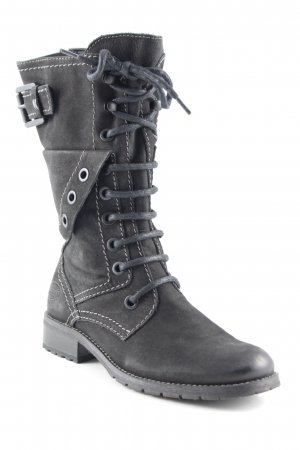 Marco Tozzi Reißverschluss-Stiefeletten schwarz-grau Military-Look