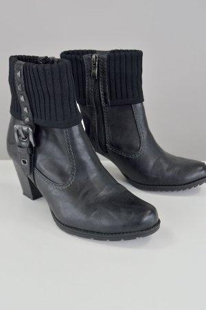 Marco Tozzi Stiefeletten mit Schnalle und Nieten schwarz Größe 37