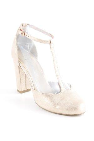 Marco Tozzi Zapatos de tacón con barra en T color rosa dorado elegante
