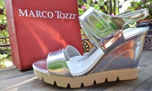 Marco Tozzi Wedge Sandals silver-colored-white
