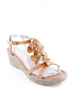 Marco Tozzi Wedge Sandals cognac-coloured-grey brown beach look