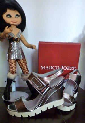 Marco Tozzi Wedges Silber glänzend Plateau 1x getragen