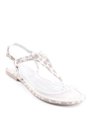 Marco Tozzi Toe-Post sandals cream-grey brown animal pattern beach look