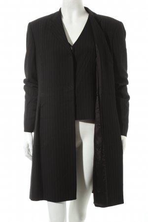 Marella Frock Coat black-brown pinstripe business style