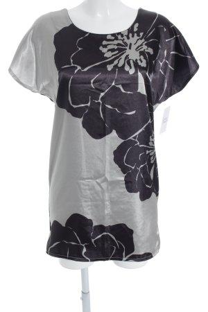 Maren Gilzer Print-Shirt schwarz-hellbeige florales Muster Glanz-Optik