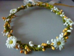 Margeriten Haarreif Blütenkranz mit Bändern Blumenmädchen HANDARBEIT
