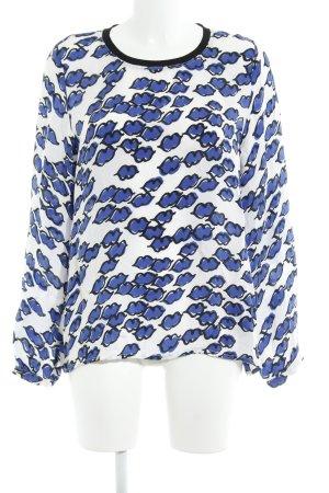 Margittes Langarm-Bluse weiß-blau abstraktes Muster Casual-Look