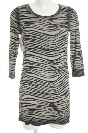 Margittes Longshirt schwarz-creme Streifenmuster Animal-Look