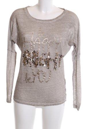 Margittes Longsleeve hellgrau-bronzefarben meliert Casual-Look