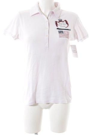Margittes Polo-Shirt rosé Motivdruck klassischer Stil