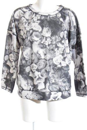 Margittes Rundhalspullover weiß-grau florales Muster Casual-Look