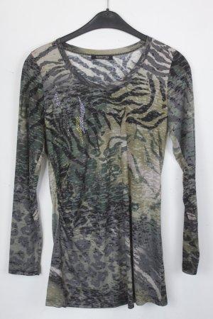 Margittes Shirt Sweatshirt Gr. 38 grün/schwarz/braunes Tigerstreifen Muster mit Glitzer Applikation (18/5/161