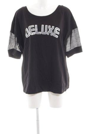 Margittes T-Shirt schwarz-hellgrau Schriftzug gedruckt Casual-Look