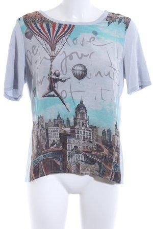 Margittes T-shirt grigio chiaro Stampa a tema stile casual