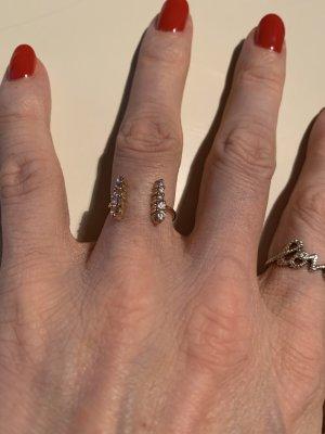 Margova Jewellery Ring Echtgold mit rosa Steinen 14k Double Row Pink Ring