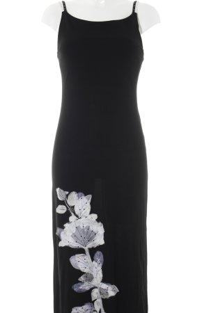 Maria Grazia Severi Abendkleid schwarz-weiß florales Muster Elegant