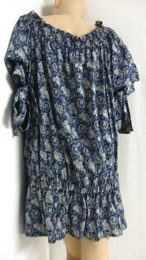 Long Blouse dark blue-light grey cotton
