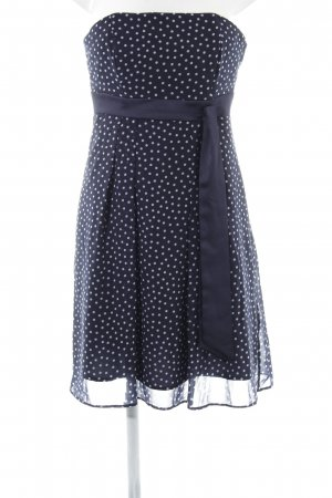 Marie Blanc Abito a fascia blu-bianco motivo a pallini elegante