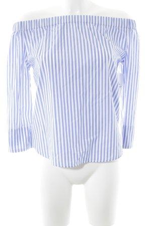 Marie Lund Carmen-Bluse himmelblau-weiß Streifenmuster minimalistischer Stil