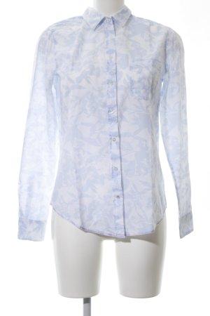 Marie Lund Hemd-Bluse weiß-blau Blumenmuster Casual-Look