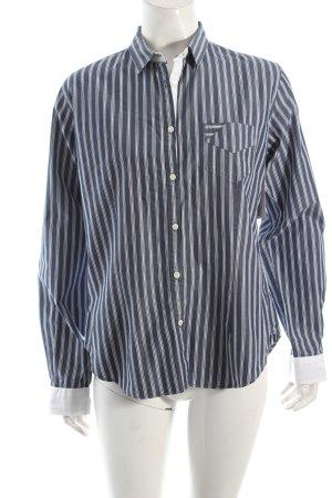 Marie Lund Hemd-Bluse weiß-blau Streifenmuster